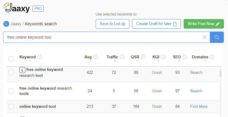 Jaaxy Keyword research tool for the online marketer