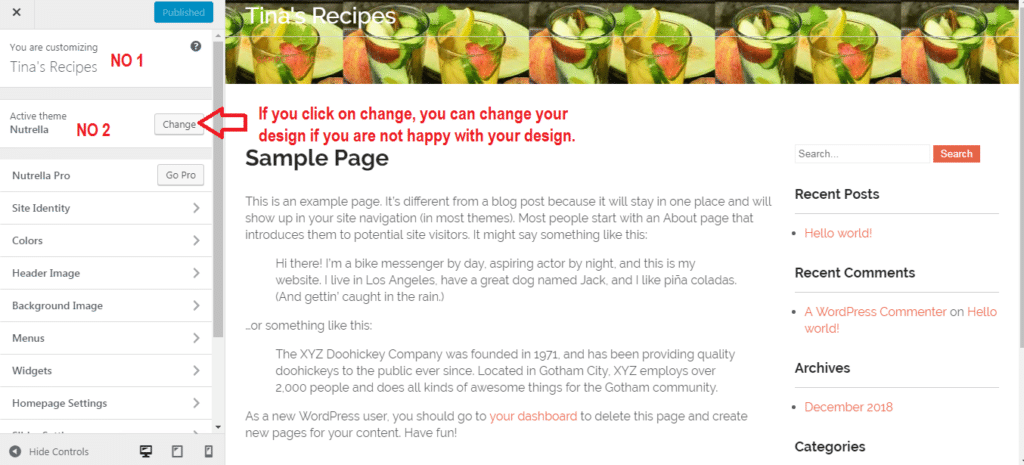Customize your Word Press Website