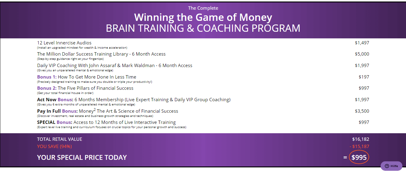 Price for winning the game of money