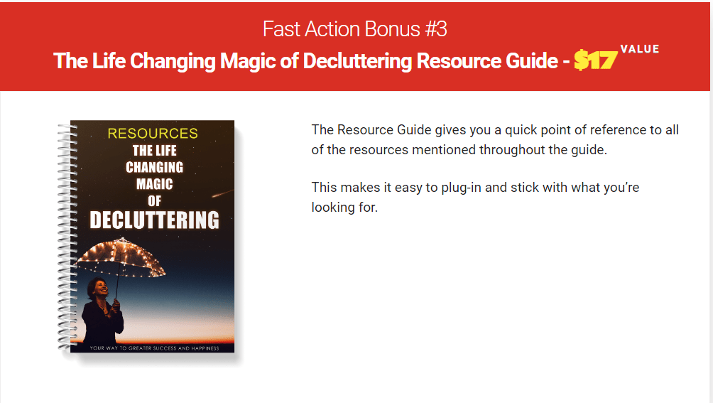 Fast Action Bonus 3 the life changing Magic of decluttering your life